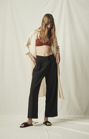 tailored wide leg trouser black mijeong park | pipe and row