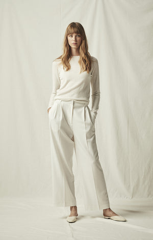 tailored wide leg trouser ivory mijeong park | pipe and row