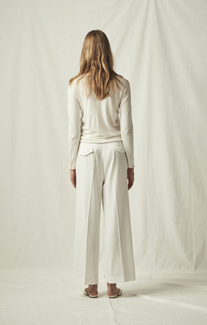 tailored trouser wide leg ivory mijeong park | pipe and row