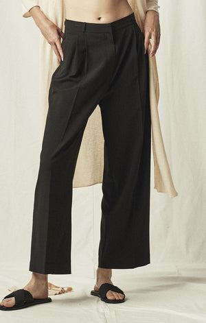 wide leg trouser tailored mijeong park black | pipe and row