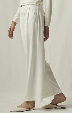 wide leg tailored trouser ivory mijeong park | pipe and row