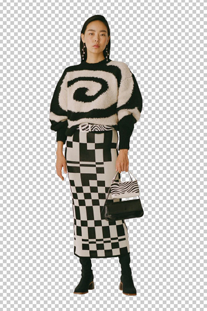 Paloma Wool Wilshire knit midi skirt irregular black and white check print | Pipe and Row