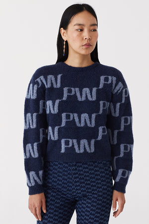 Paloma Wool Windows logo sweater alpaca dark navy blue | pipe and row