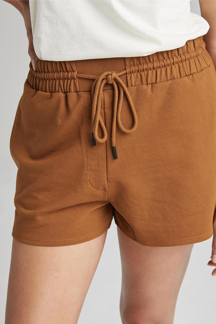 Richer Poorer terry sweatshorts woodgrain brown summer WFH | Pipe and Row