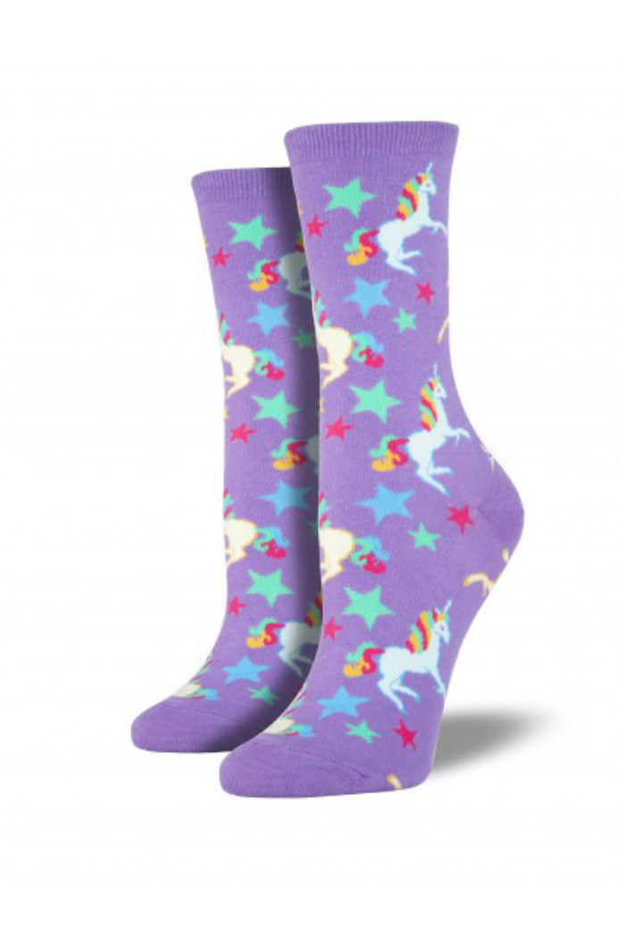 unicorn socks bright purple women's sock smith | pipe and row