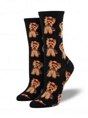 yorkies black graphic womens crew socks socksmith | pipe and row