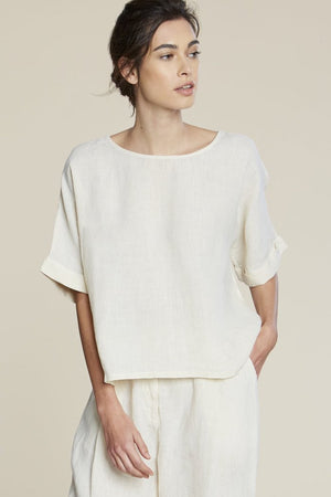 zoe linen top vanilla cream filosofia | pipe and row boutique