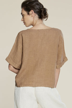Filosofia Zoe linen wheat short sleeve top | pipe and row
