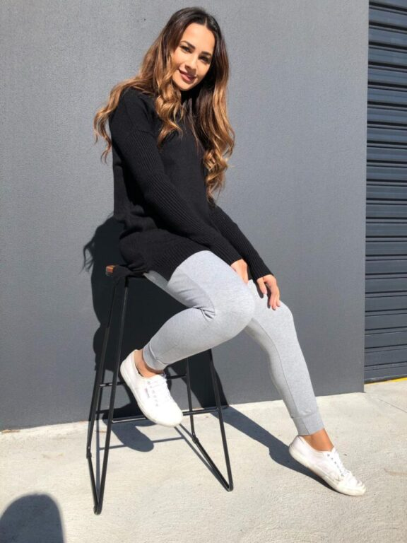 Ribbed Sleeve Knit Sweater