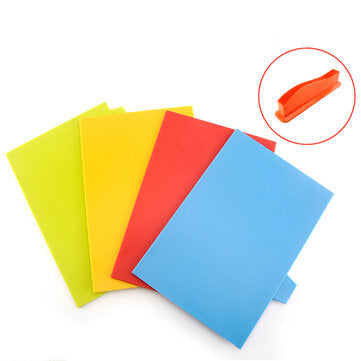 4Pcs Kitchen Plastic Cutting Board Set Colorful Serving Chopping Block Stand