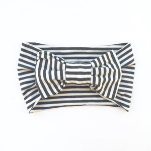 One Size Bamboo Big Bow Turban Charcoal/Ivory Stripe
