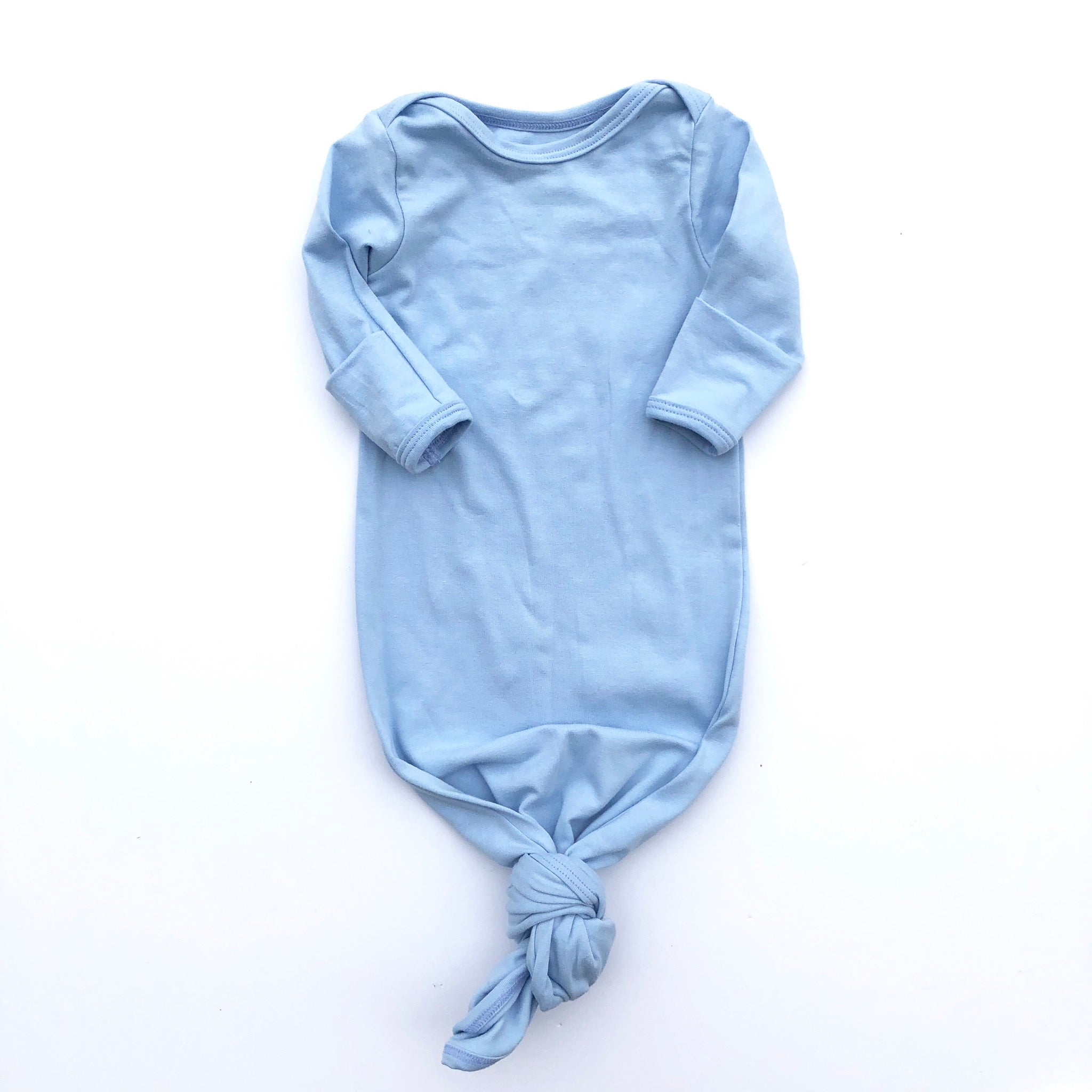 Sky Blue Knotted Bottom Baby Layette Gown - Oh So Vera