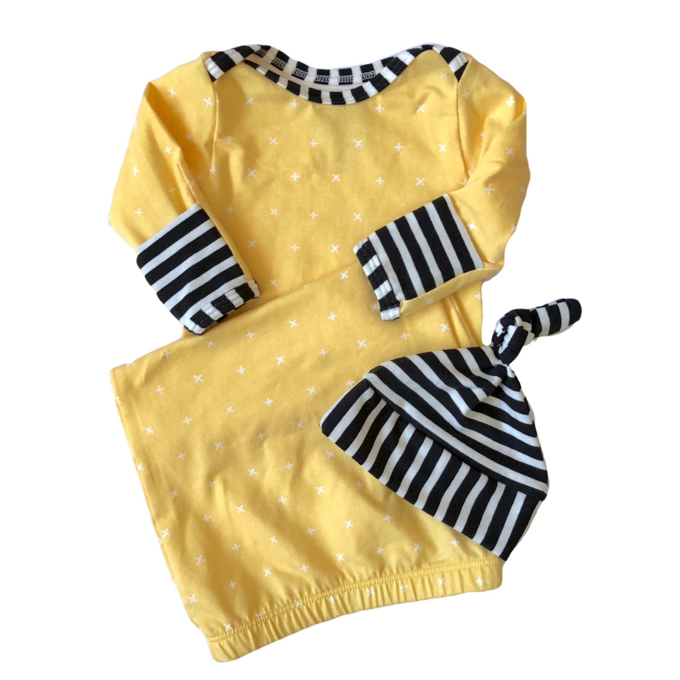 Cross My Heart Layette Gown with Black and White Stripe Accents - Oh ...