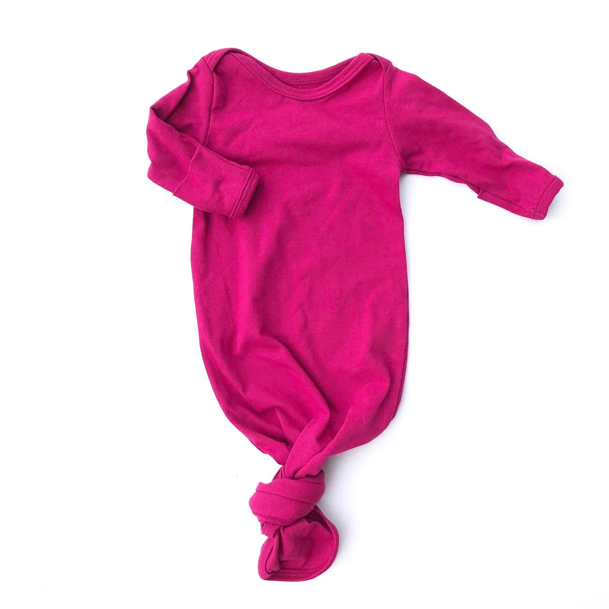Magenta Knotted Bottom Baby Layette Gown