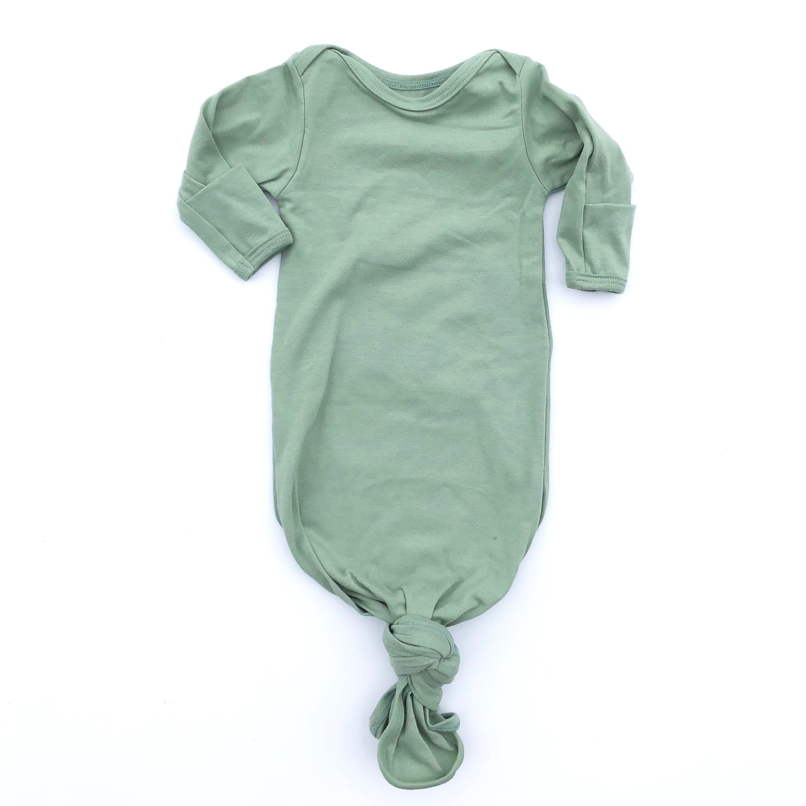 Dark Sage Knotted Bottom Baby Layette Gown - Oh So Vera