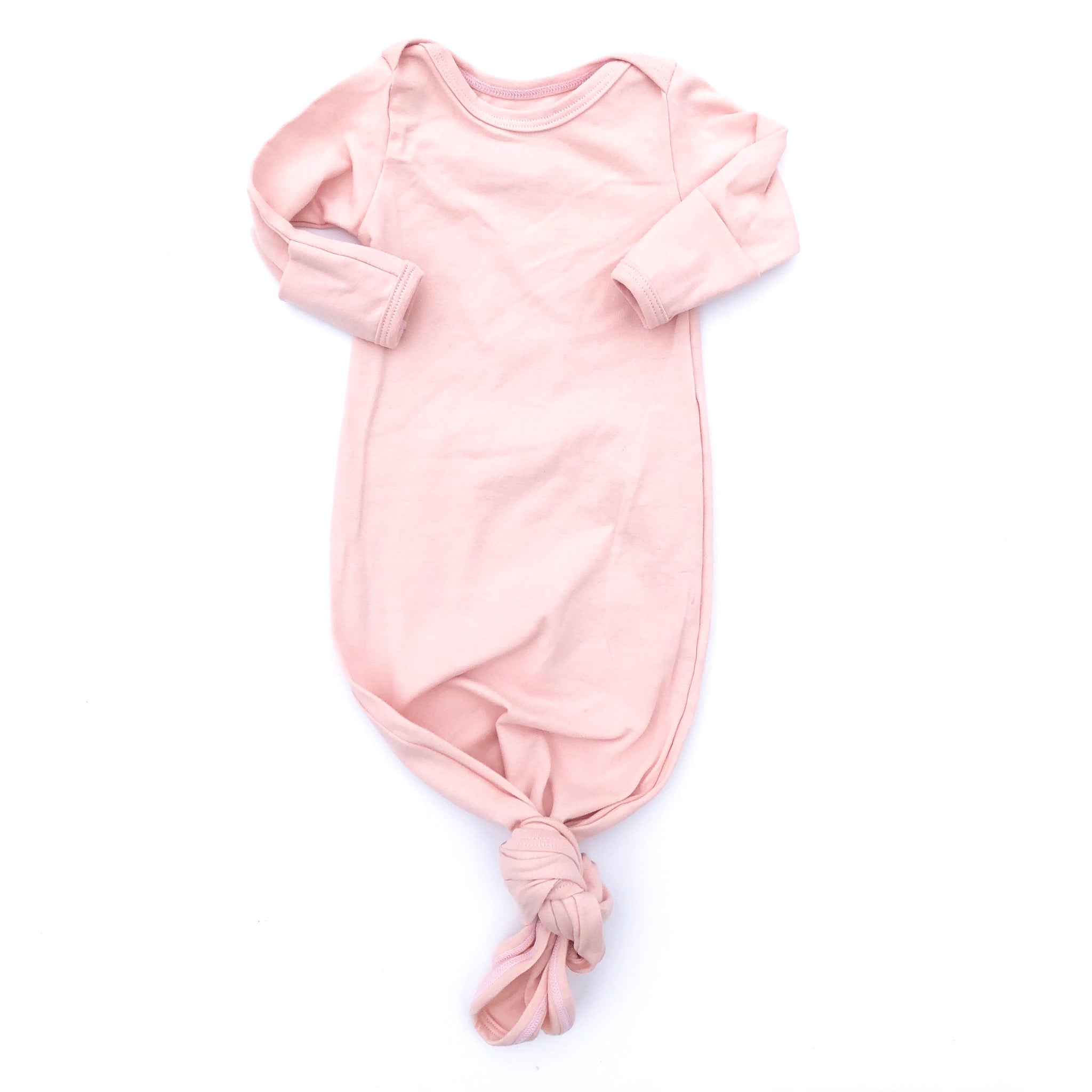 Blush Knotted Bottom Baby Layette Gown