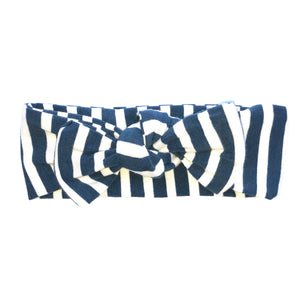 Navy Stripe Top Knot Headband