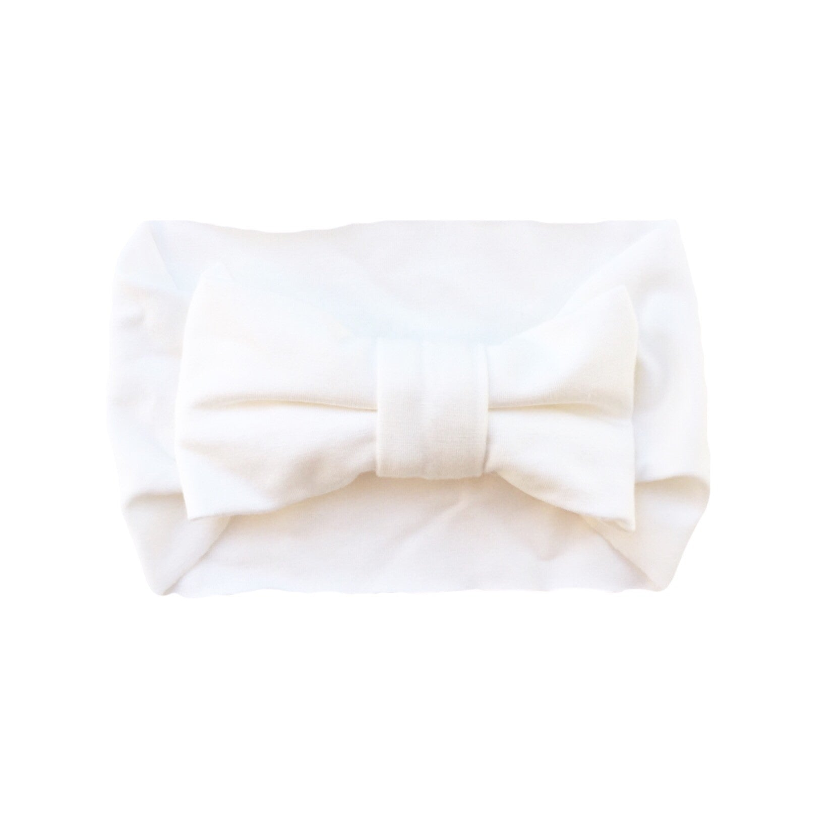 One Size Bamboo Big Bow Turban in Ivory
