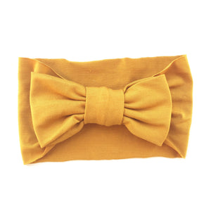 One Size Bamboo Big Bow Turban in Mustard