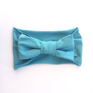 One Size Bamboo Big Bow Turban in Aqua