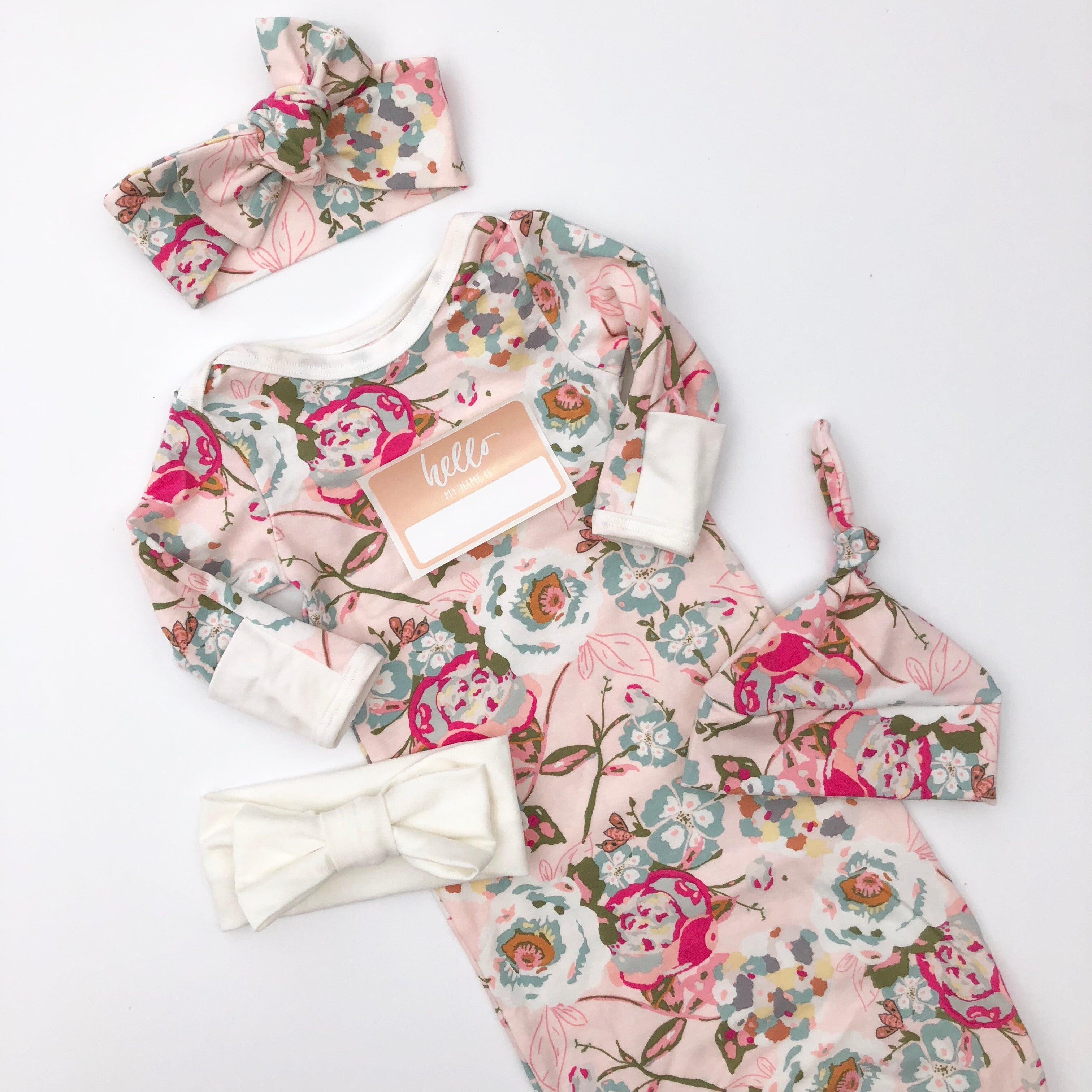 Blooming Garden Layette Gown with Ivory Accents