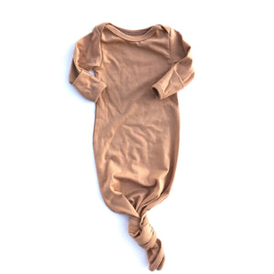 Khaki Knotted Bottom Baby Layette Gown