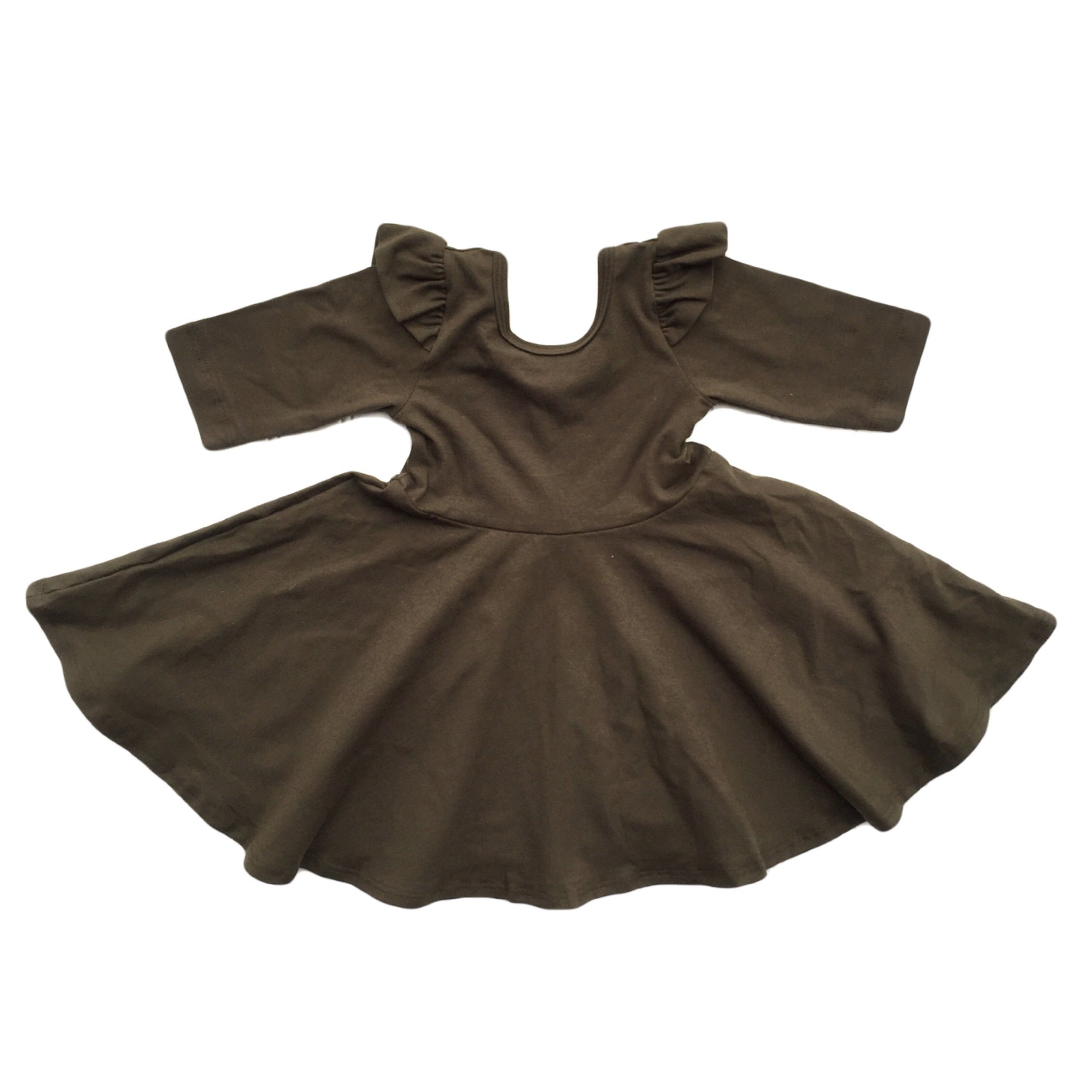 Dark Olive Flutter Shoulder 3/4 Sleeve Twirl Dress