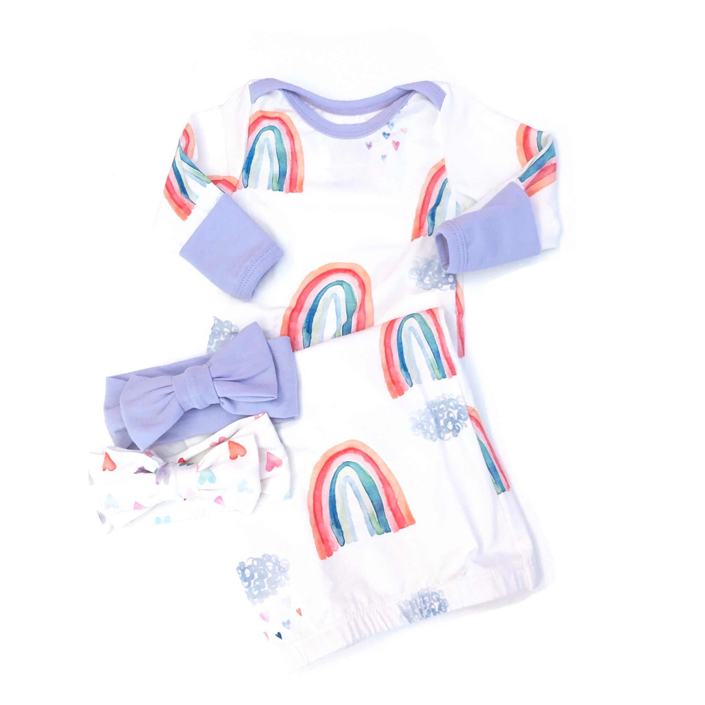 Love & Rainbows Layette Gown with Lavender Accents