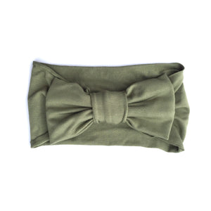 One Size Bamboo Big Bow Turban in Sage