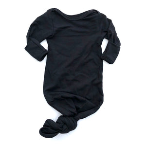 Black Knotted Bottom Baby Layette Gown