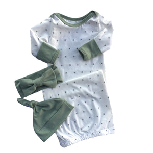 Cross My Heart Layette Gown with Sage Accents