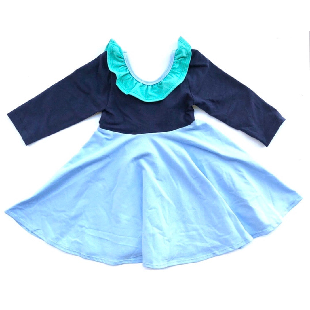 Color Block 3/4 Sleeve Twirl Dress in Shades of Blue