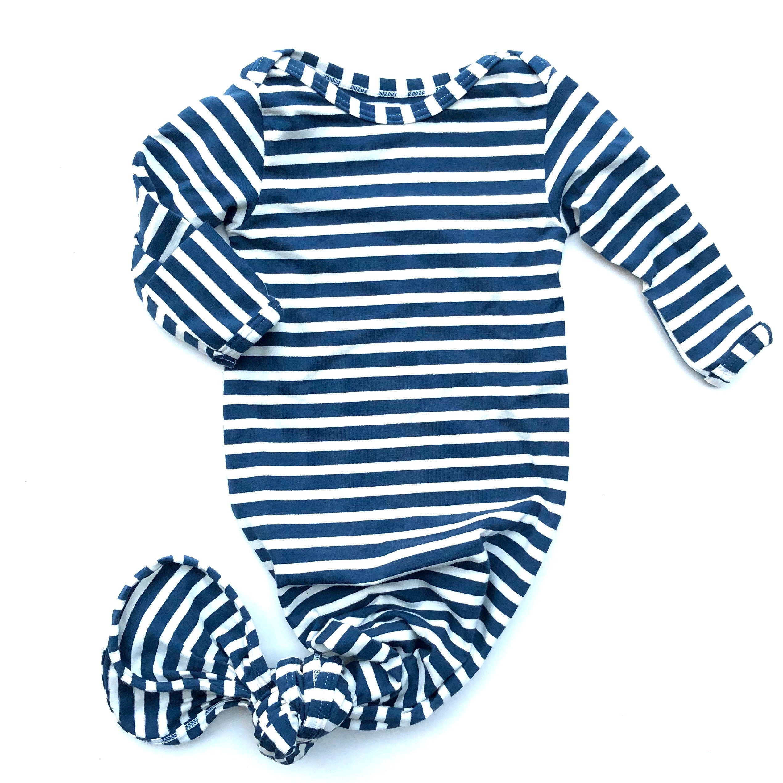 Navy Stripe Knotted Bottom Baby Layette Gown