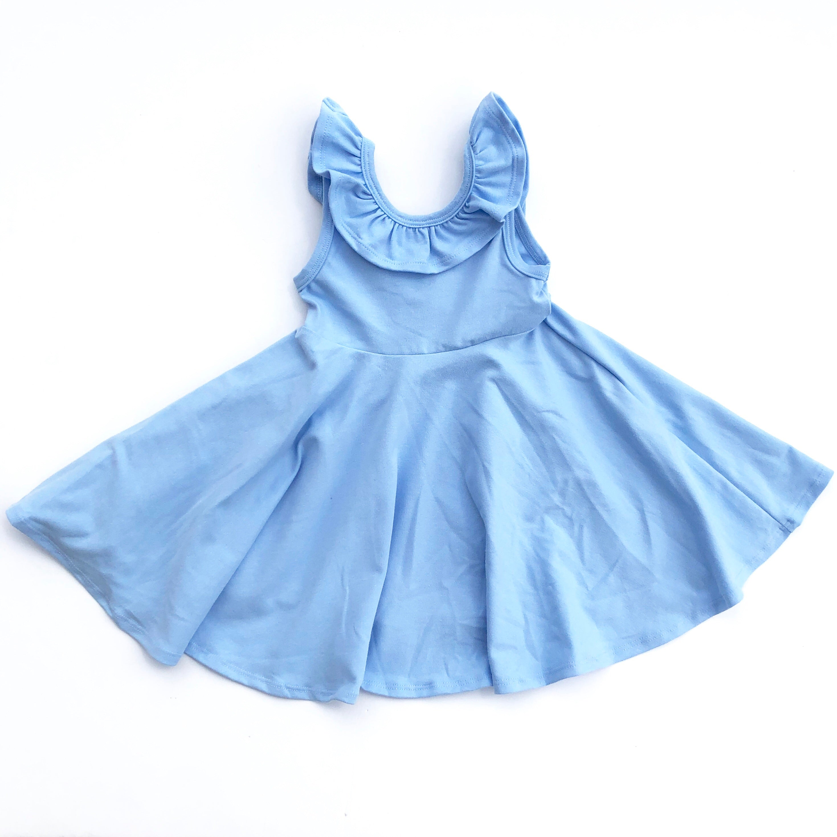 Powder Blue Ruffle Collar Tank Style Twirl Dress