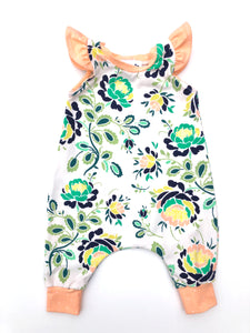 Peachy Green Flutter Sleeve Balloon Pant Romper