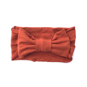 One Size Bamboo Big Bow Turban in Cinnamon