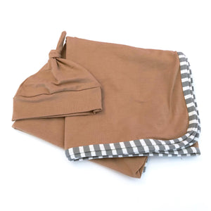 Khaki and Gray Stripe Swaddle Set