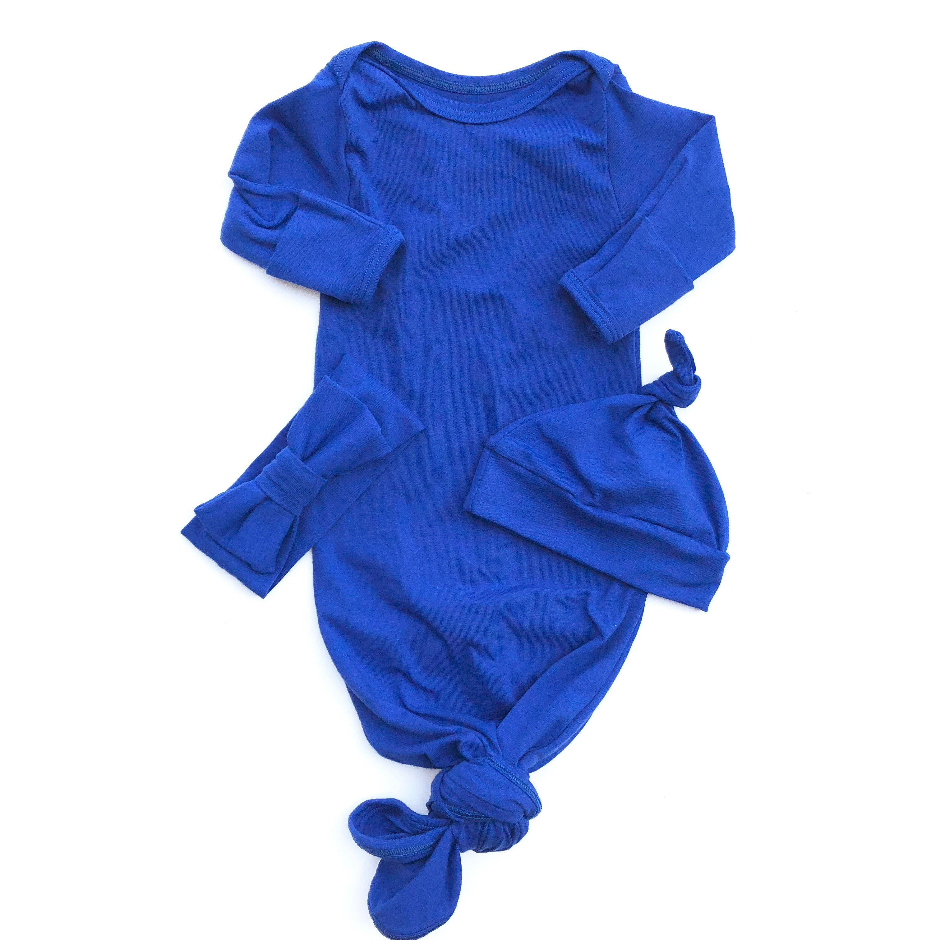 Cobalt Blue Knotted Bottom Baby Layette Gown - Oh So Vera
