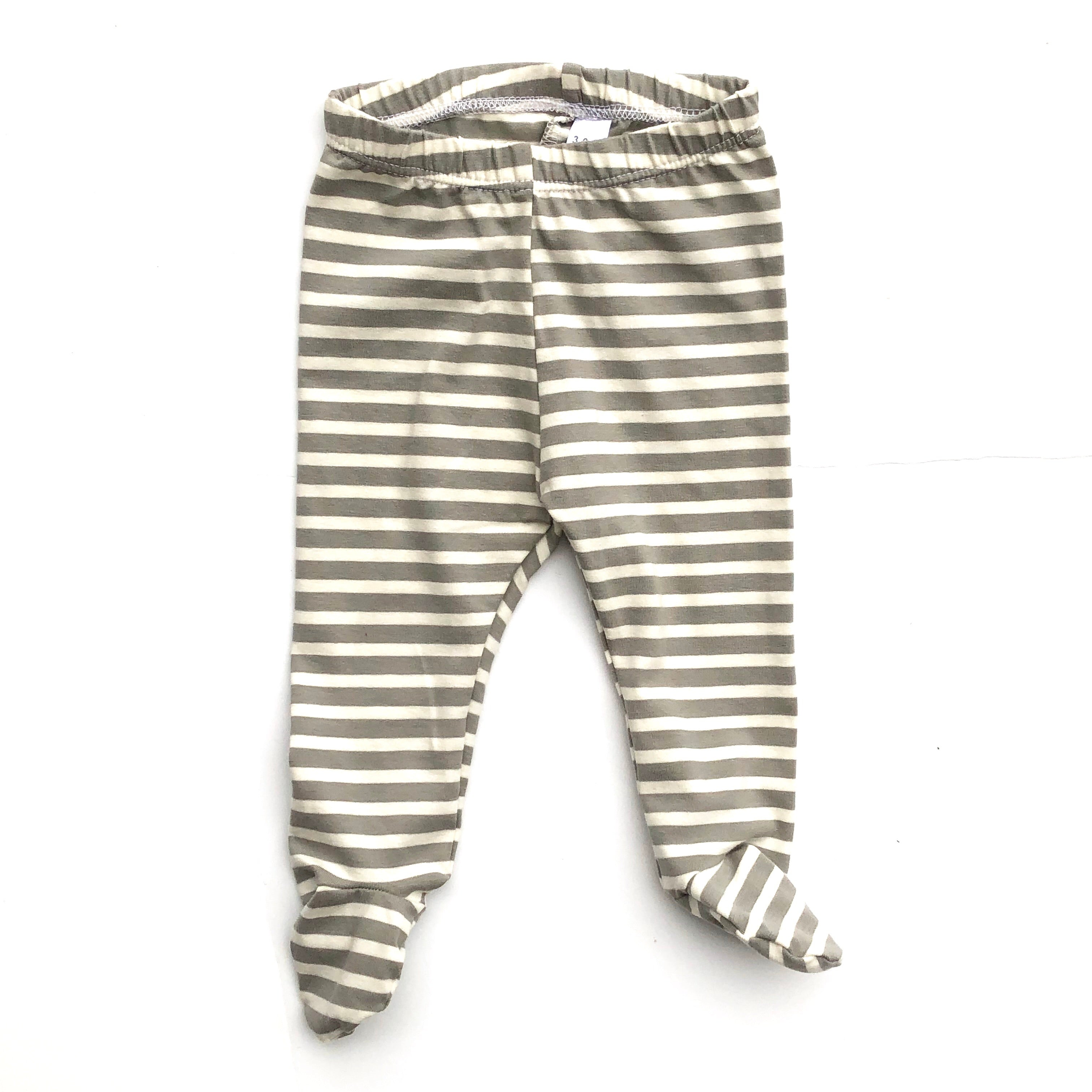 Gray & Ivory Stripe Footed Pants