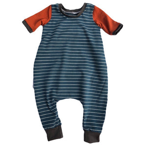 Midnight Blue Stripe, Charcoal & Rust Balloon Pant Romper