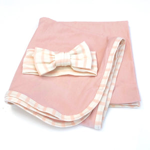 Blush and Blush/Ivory Stripe Swaddle Set