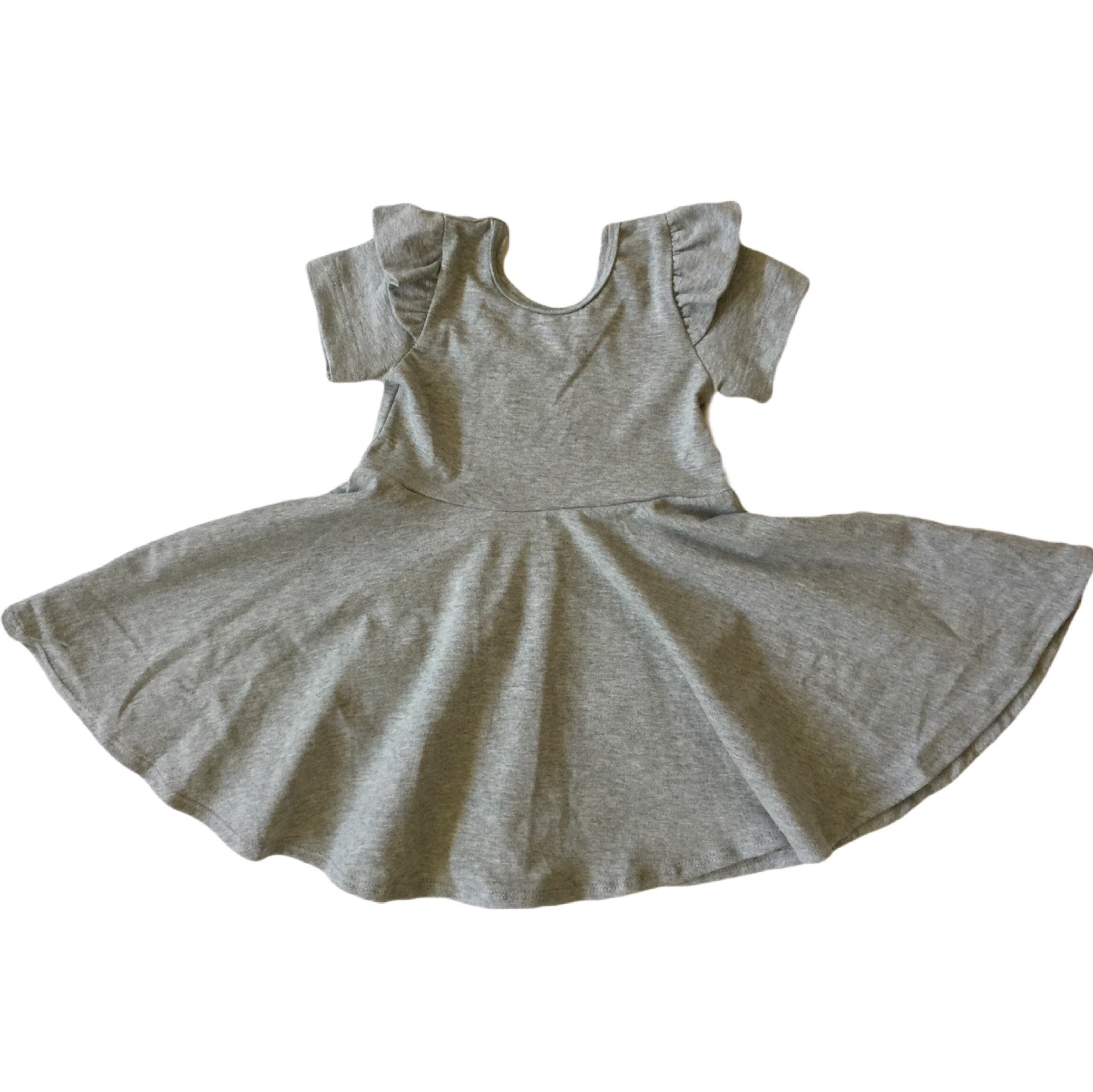 Heather Gray Flutter Shoulder Short Sleeve Twirl Dress