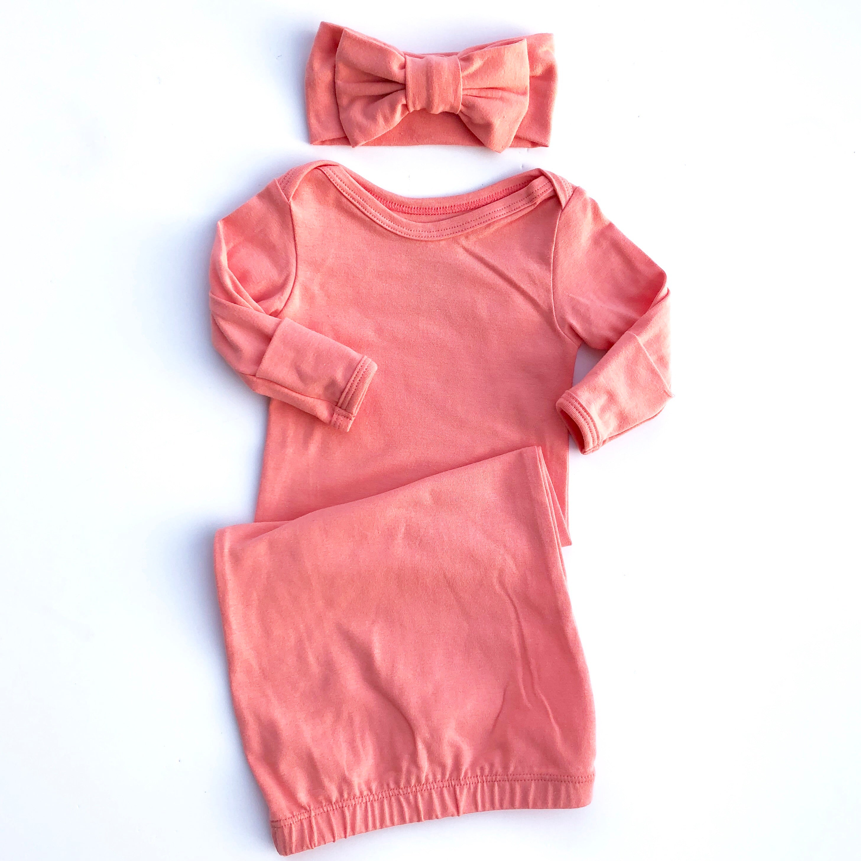 Dark Peach Elastic Bottom Baby Layette Gown - Oh So Vera