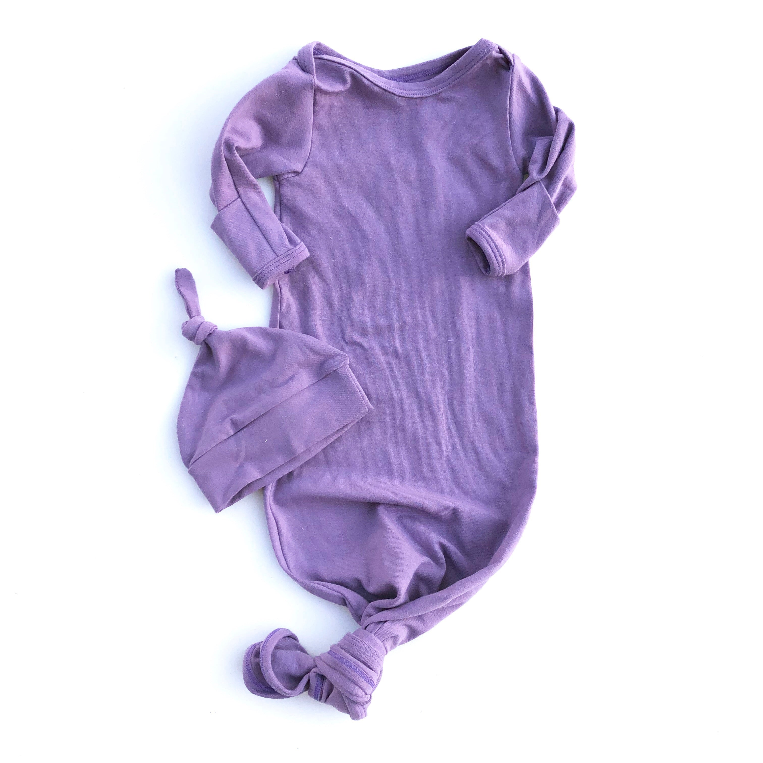 Dark Lavender Knotted Bottom Baby Layette Gown