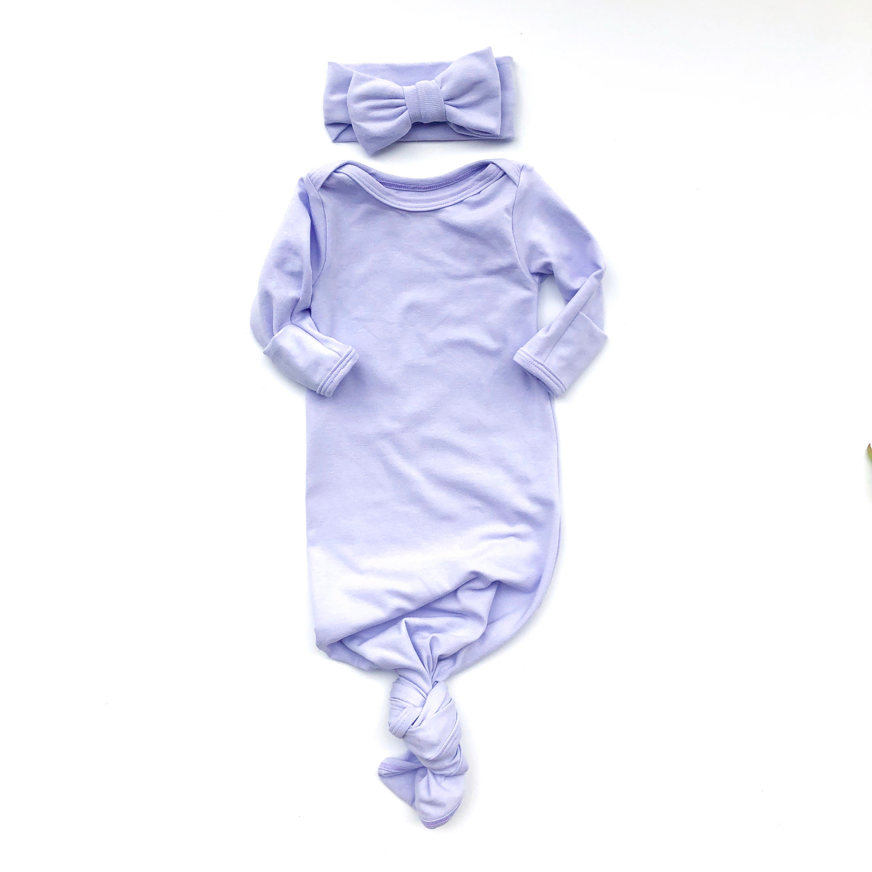 Lavender Knotted Bottom Baby Layette Gown