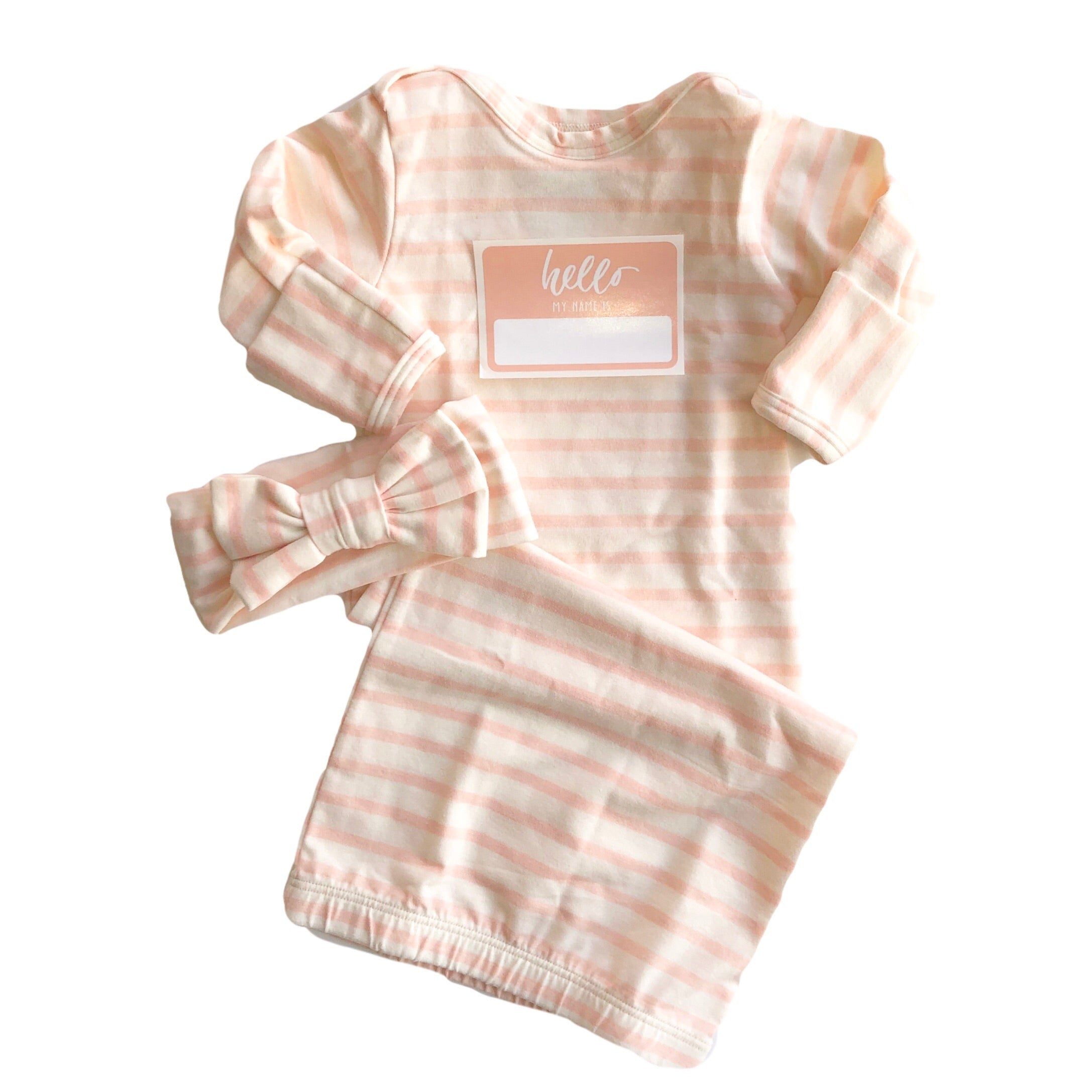 Blush Stripe Bottom Baby Layette Gown - Oh So Vera