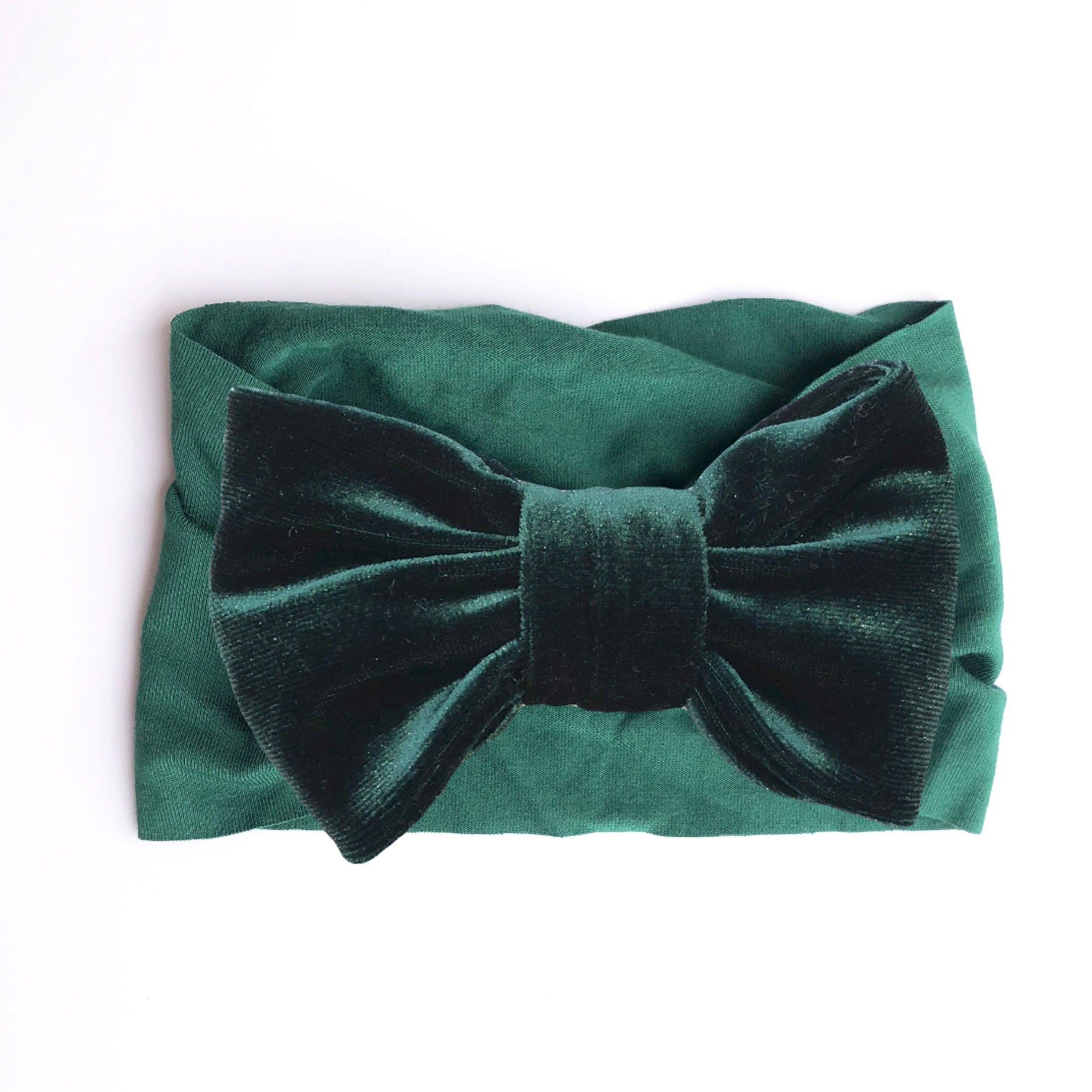 Hunter Green Knit & Velvet Bow Headband