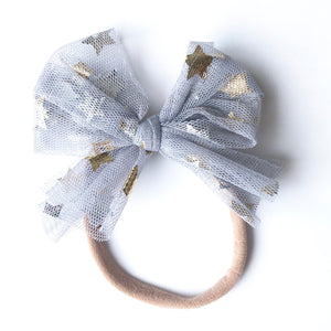 Gray and Metallic Gold Star Tulle Party Bow (Headband or Clip Bow)