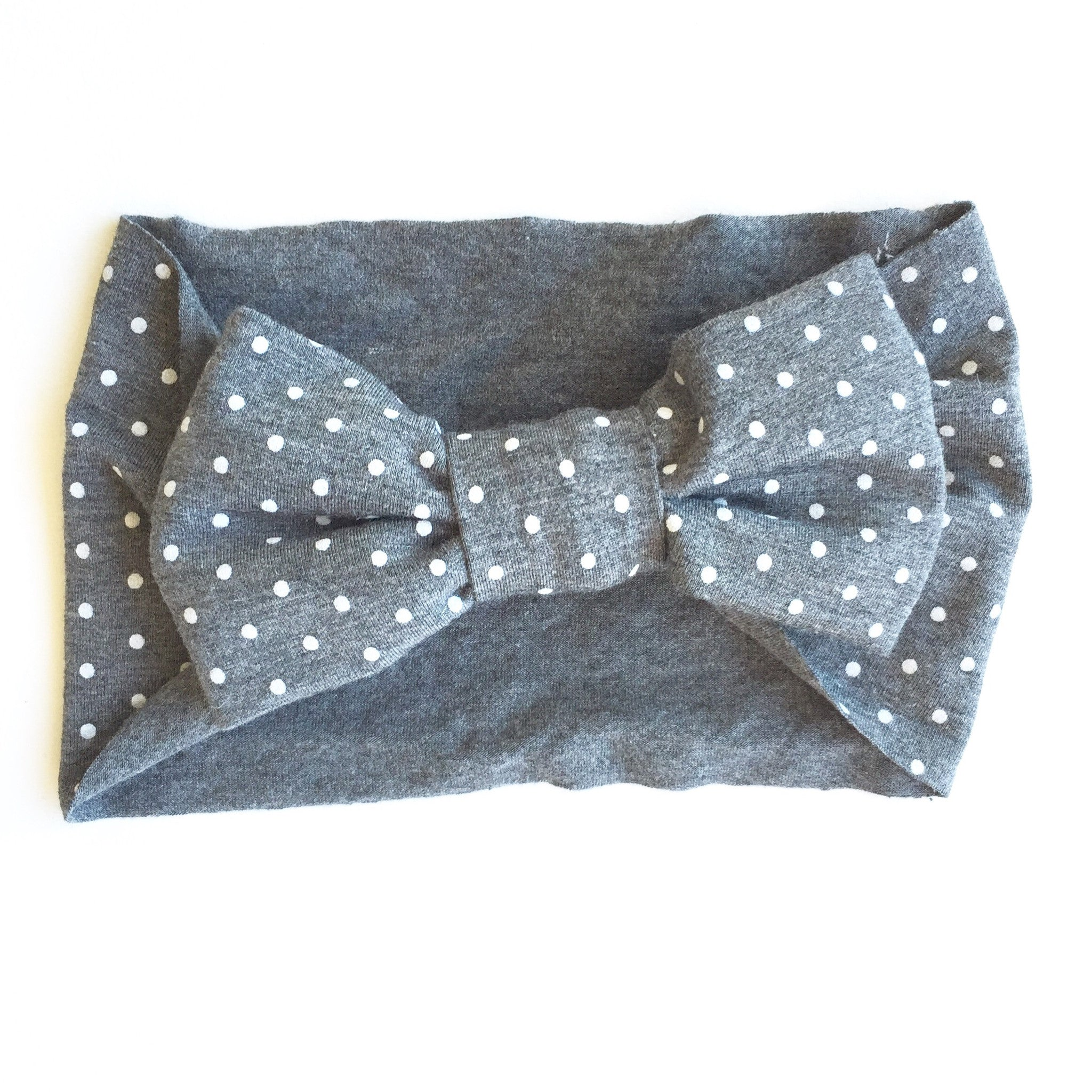 e00b5eb3389b One Size Bamboo Big Bow Turban in Charcoal and White Mini Dot - Oh ...