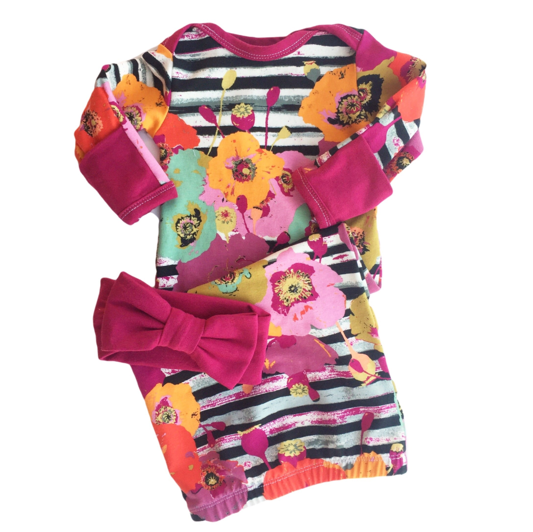 Autumn Poppy Layette Gown with Magenta Accents